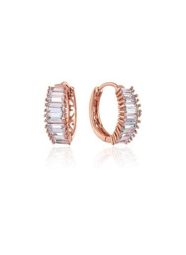 Tophills Diamond Co. 3,20 Ct Pırlanta Efekt  Altın Rose Bagetta Hoop Küpe Renkli